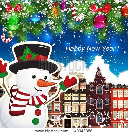 Snowman on the background of snow-covered streets. New Year design background. Falling snow.  Holiday illustration with place for text.