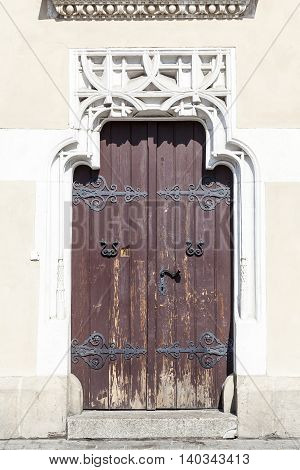 Decorative portal side door Cloth Hall ( Sukiennice) Main Market Square Krakow Poland.