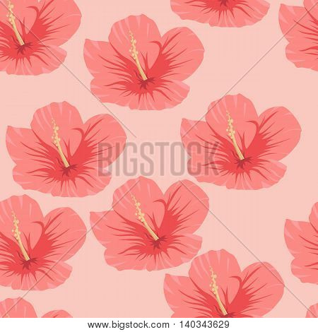 Seamless pattern of tropical pink hibiscus flowers on a light background