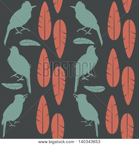 Simple seamless gray pattern green singing birds and red feathers sitting on a light background. Seamless pattern can be used for pattern fills web page backgroundsurface textures