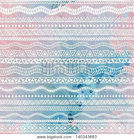 Seamless pattern. Geometric strip. Ethnic and tribal motifs. Watercolor texture. Rose quartz, blue and white colors. Vector illustration.