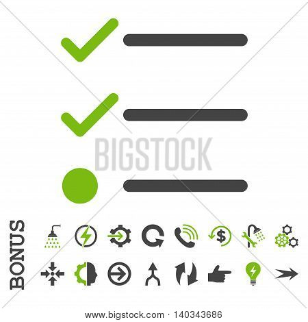 Checklist vector bicolor icon. Image style is a flat iconic symbol, eco green and gray colors, white background.