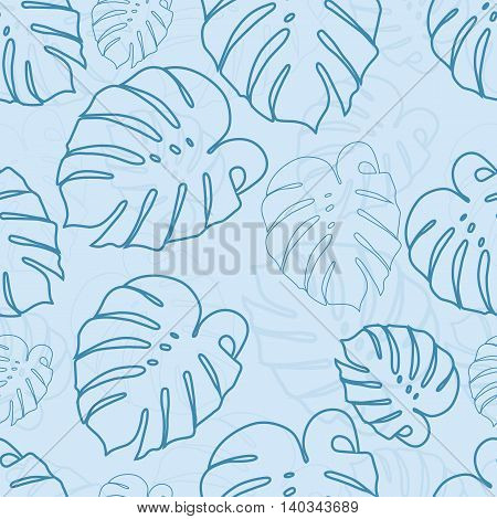 Monstera outlines leaves seamless pattern on a light background. Seamless pattern can be used for pattern fills web page backgroundsurface textures.