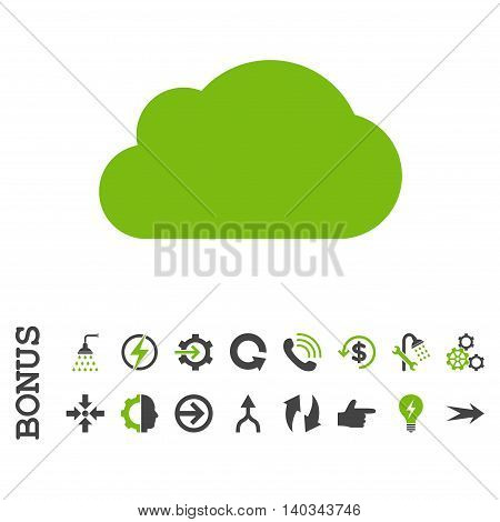 Cloud vector bicolor icon. Image style is a flat iconic symbol, eco green and gray colors, white background.