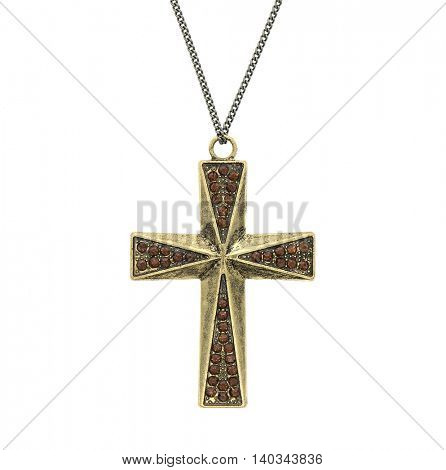 vintage cross pendant isolated on white background