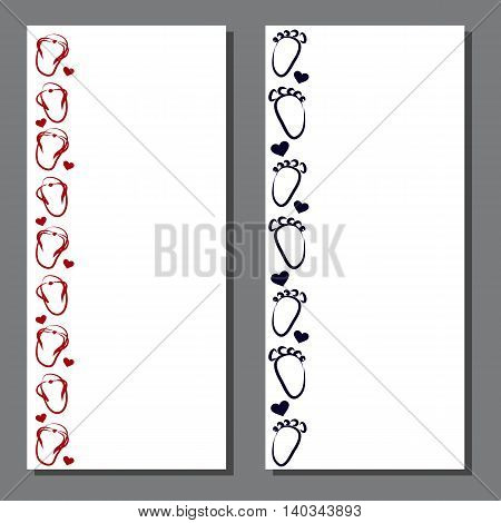 Original card with step elements and heart. It can be used for children's birthday or wedding or other interesting events