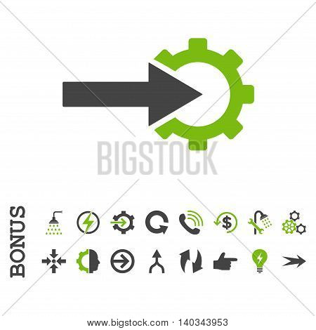 Cog Integration vector bicolor icon. Image style is a flat iconic symbol, eco green and gray colors, white background.