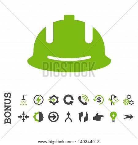 Construction Helmet vector bicolor icon. Image style is a flat iconic symbol, eco green and gray colors, white background.