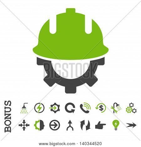 Development Helmet vector bicolor icon. Image style is a flat iconic symbol, eco green and gray colors, white background.