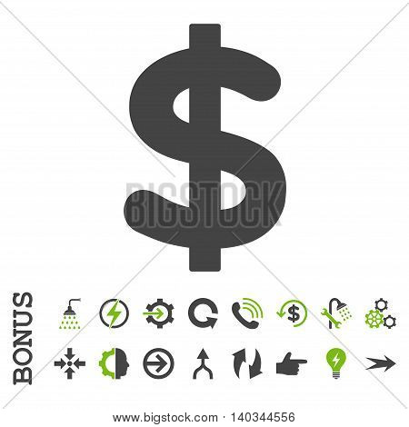 Dollar vector bicolor icon. Image style is a flat iconic symbol, eco green and gray colors, white background.