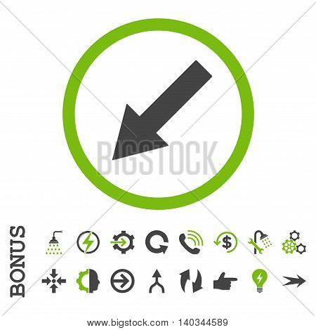 Down-Left Rounded Arrow vector bicolor icon. Image style is a flat iconic symbol, eco green and gray colors, white background.