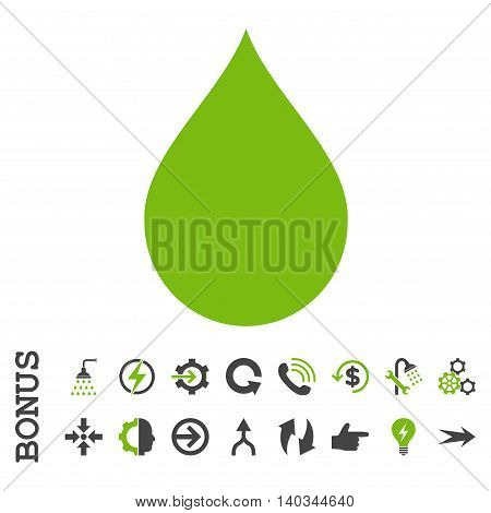 Drop vector bicolor icon. Image style is a flat iconic symbol, eco green and gray colors, white background.