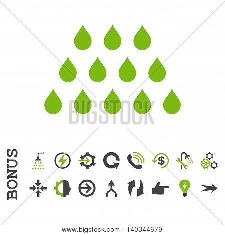 Drops vector bicolor icon. Image style is a flat pictogram symbol, eco green and gray colors, white background.