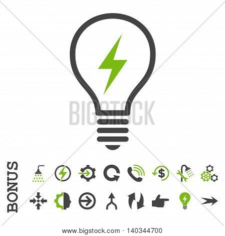 Electric Bulb vector bicolor icon. Image style is a flat pictogram symbol, eco green and gray colors, white background.