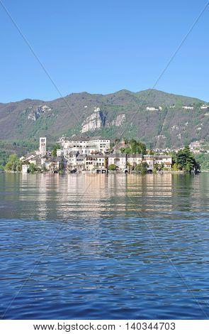 View form Orta San Giulio to Isola San Giulio at Lake Orta in Piedmont,italian Lake District,Italy