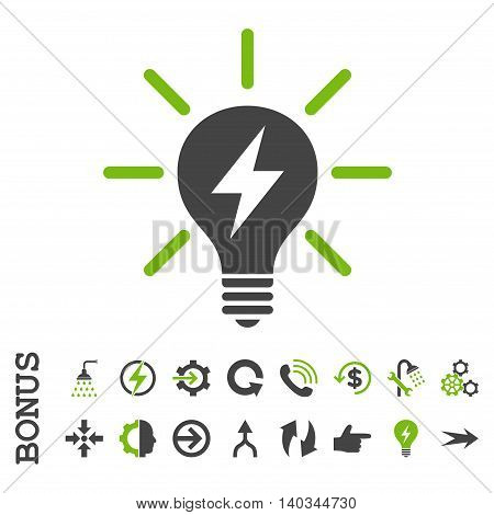 Electric Light Bulb vector bicolor icon. Image style is a flat iconic symbol, eco green and gray colors, white background.