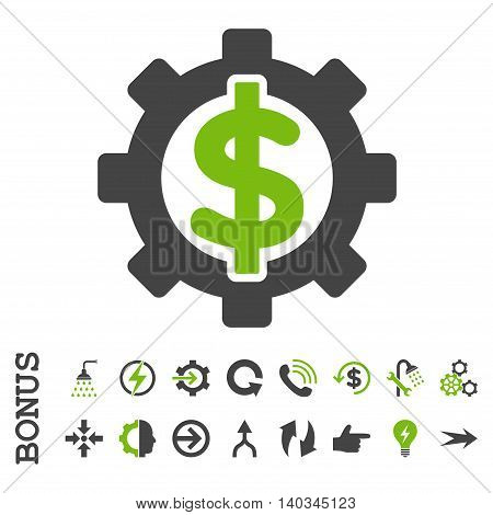 Financial Options vector bicolor icon. Image style is a flat pictogram symbol, eco green and gray colors, white background.