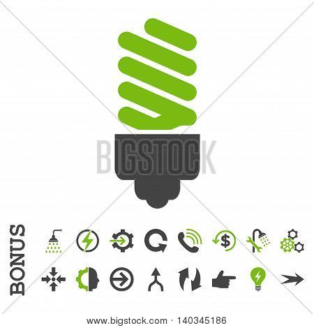 Fluorescent Bulb vector bicolor icon. Image style is a flat iconic symbol, eco green and gray colors, white background.