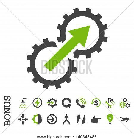 Gear Integration vector bicolor icon. Image style is a flat iconic symbol, eco green and gray colors, white background.