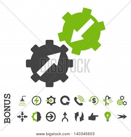 Gear Integration vector bicolor icon. Image style is a flat pictogram symbol, eco green and gray colors, white background.