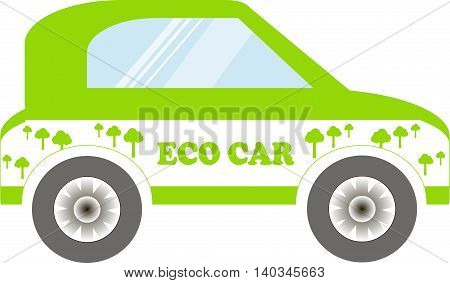 Eco series, green and white car on white, vector illustration