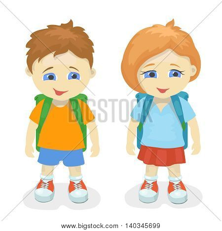 Boy and girl with backpacks. School kids, education people person