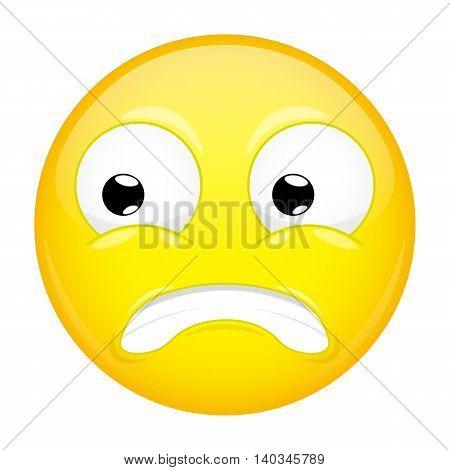 Shocked emoji. Fear emotion. Puzzled emoticon. Vector illustration smile icon.