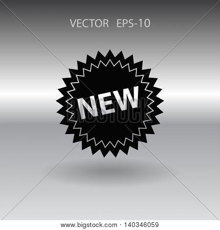Flat long shadow New label icon, vector illustration
