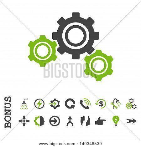 Gears vector bicolor icon. Image style is a flat iconic symbol, eco green and gray colors, white background.