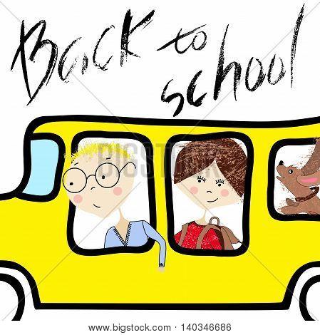 Kids riding on school bus. Handwritten lettering. Back to school