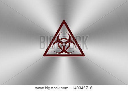 red bio hazard icon inlay on chrome aluminium texture. 3d illustration