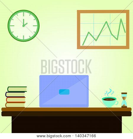 Creative cartoon office workspace with laptop, notes, books, clock, mug. Flat minimalistic style and color.
