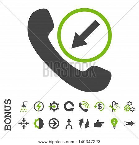 Incoming Call vector bicolor icon. Image style is a flat pictogram symbol, eco green and gray colors, white background.