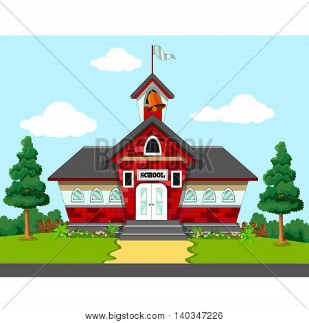 beauty School Building with green grass background