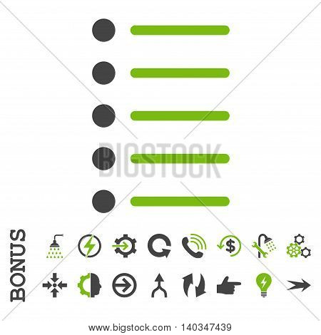 Items vector bicolor icon. Image style is a flat pictogram symbol, eco green and gray colors, white background.
