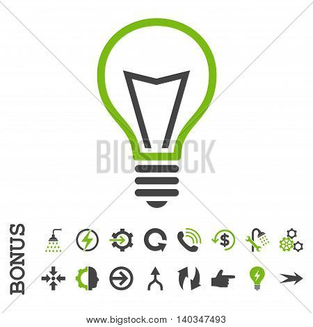 Lamp Bulb vector bicolor icon. Image style is a flat iconic symbol, eco green and gray colors, white background.