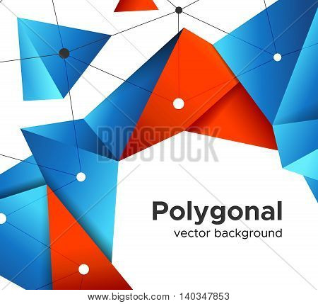 Colorful vector background with vibrant blue-orange polygonal crystal shape and mesh isolated on white background. Premium low poly geometric banner design concept