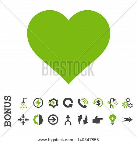 Love Heart vector bicolor icon. Image style is a flat pictogram symbol, eco green and gray colors, white background.