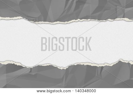grey wrinkled paper ripped on the white board. vintage style for your business. 3d illustration .