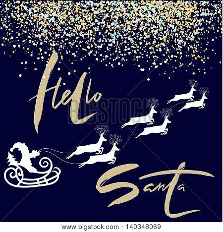 Happy New Year lettering design. Santa Claus drives sledge. Golden snow. Vector illustration