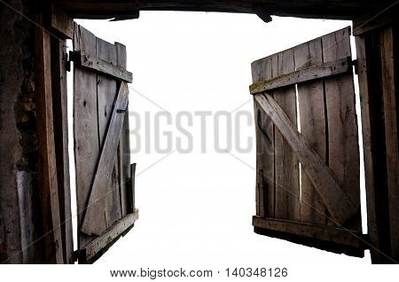 Opened old gate isolated on white background