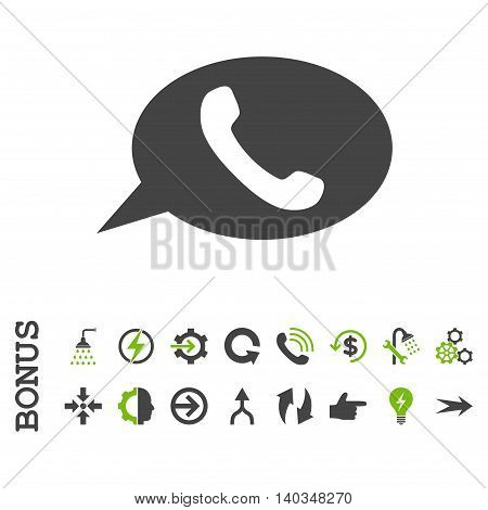 Phone Message vector bicolor icon. Image style is a flat pictogram symbol, eco green and gray colors, white background.