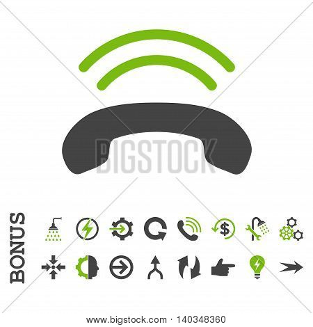 Phone Ring vector bicolor icon. Image style is a flat iconic symbol, eco green and gray colors, white background.