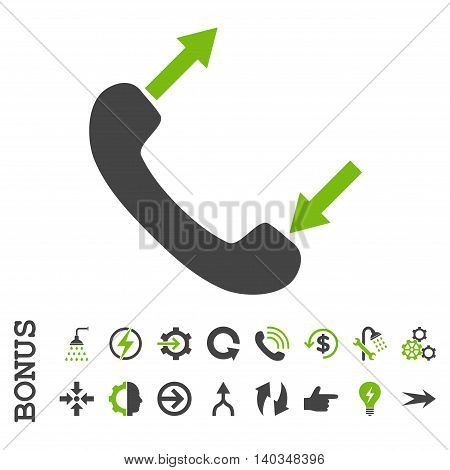 Phone Talking vector bicolor icon. Image style is a flat iconic symbol, eco green and gray colors, white background.