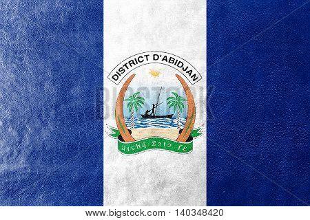 Flag Of Abidjan, Ivory Coast, Painted On Leather Texture