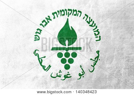 Flag Of Abu Ghosh City, Israel, Painted On Leather Texture