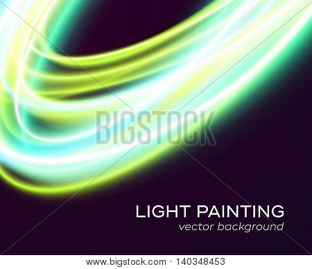 Vector banner design template with abstract blue and green color glowing curves isolated on black background. Bright colorful illustration of light painting special effect with transparency