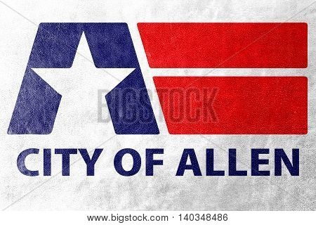 Flag Of Allen, Texas, Usa, Painted On Leather Texture