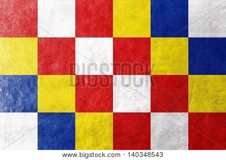 Flag Of Antwerp Province, Belgium, Painted On Leather Texture