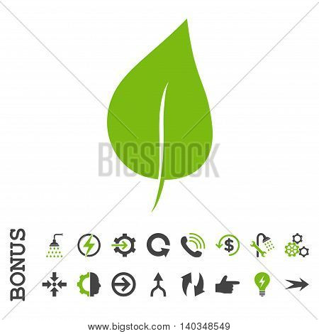 Plant Leaf vector bicolor icon. Image style is a flat pictogram symbol, eco green and gray colors, white background.